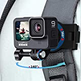 Backpack Shoulder Strap Mount with 360° rotatable Base,Adjustable Action Camera Strap Holder for Gopro Hero 9/8/7/6/5/4,Osmo Action, Insta 360 One R,Sony Action Cam