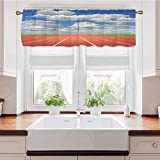 Adorise Window Curtain Valance Sports Competition Running Track on a Sunny Day Lawn Grass Field Cloudy Rod Pocket Blackout Valance Curtains Great for Your Laundry Room 54 x 18 Inch