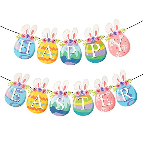 OPPRES 1 Pcs Easter Hanging Banner Colorful Paper Garland Egg Shape Rabbit Ear Flower Cute Decorative Banner for Parties Festival Accessory 5m long