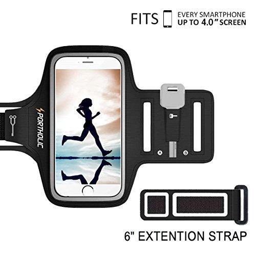 Sportarmband Handy, PORTHOLIC Schweißfest Sport Armband für iPhone 11 Pro XS X 8 7, Verlängerungsband,Schlüsselhalter,Kartensteckplatz,Kopfhörerloch, für Handy Bis zu 6.1