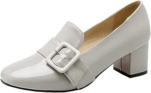 Frauen Lackleder Low Blockabsatz quadratische Zehe-Pumps mit Schnalle Beleg auf Retro-Schuhe,Grau,42