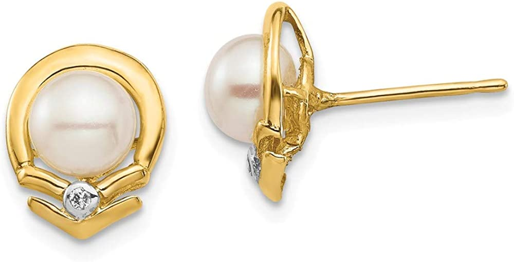 14K Yellow Gold 5-6mm White Button Freshwater Cultured Pearl .02Ct Diamond Post Ball Earrings