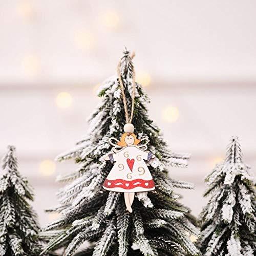LEIXNDPLBO 2 piezas Colgante de Navidad Árbol de Navidad Adornos colgantes Exhibición de la ventana Decoración del partido Niños Juguete de dibujos animados de madera Volando Papá Noel, Amarillo claro