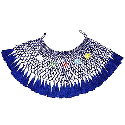 XKMY Modischer Schal, mehrfarbige südafrikanische Kunstharz-Perlen-Halskette, Lätzchen, indisch, ethnisch, Tribal ägyptischer Schmuck für Frauen, Hochzeitsgeschenke (Metallfarbe: Blau)