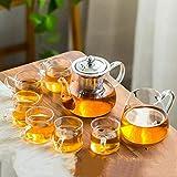 RGF Set da tè Kung Fu in Vetro Resistente al Calore, Set da tè per teiera con Fiori semplici e Moderni per Uso Domestico, Manico Trasparente per Tazza Bajun-7 Pezzi