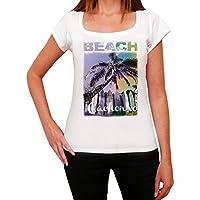 Cachorro, Nombre de la Playa, Palma, La Camiseta de Las Mujeres, Manga Corta, Cuello Redondo, Blanco