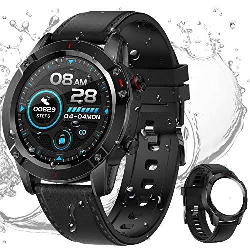 HCLKSTORE Smartwatch Fitness Tracker Reloj Inteligente Hombre Pulsera Actividad IP68 con Correa Repuesta Monitoreo del Sueño de Oxígeno Presión Arteri para iOS y Android (Negro)