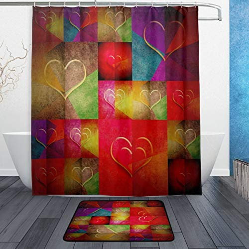 cortinas de baño y alfombra