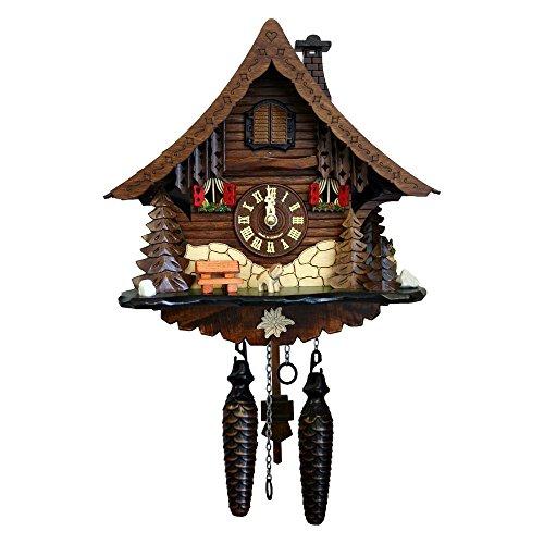 Alexander Taron 471QM Engstler Battery-Operated Cuckoo Clock - Full Size - 9.75 H x 10 W x 6.5 D, Brown