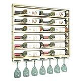 WEIB-botellero 2 en 1 diseños de Botella de Vino Flotante y Estante de Vidrio, Soporte de Metal para Montaje en Pared, Copas de Vidrio, champán, Vidrio, Vidrio - 75x10x85cm
