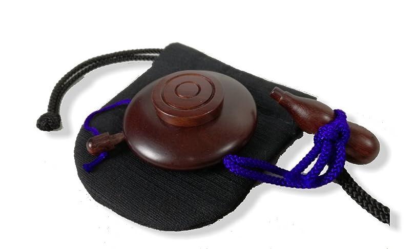 マングル斧混沌塗香入れ 紫檀 大(直径約 5cm) 塗香入れ袋(巾7cm×高さ8cm紬) 携帯用