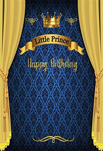 YongFoto 3x5ft Fotografie Verjaardagsfeestje Fotobehang Blauw Damast Geel Gordijn Gouden Kroon Kleine Prins Gelukkige Verjaardag Baby Kinderen Foto's Achtergrond Foto Stuido Props