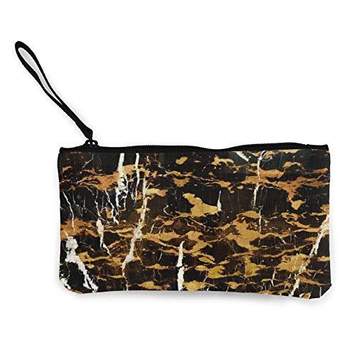 Monedero de lona de color mármol dorado para viaje, maquillaje, lápiz con asa y cremallera
