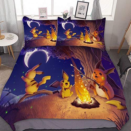 MEW Anime Bedding Duvet Cover Set,TWIN (68x86 inch), Pichu Pikachu Raichu (2),3 Pieces Bedding Set,With Zipper Closure and 2 Pillow Shams, Cute Cartoon bedroom Comforter Sets for Boys Girls
