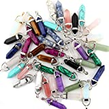 Mutilcolor 50pcs Gemstone Bullet Meditation Healing Pointed Chakra Crystal Stone Random Color Pendants for Necklace Jewelry Making