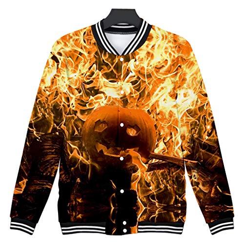 Z-MENG Herren Herren-Jacken Sportjacken für Herren Halloween Print Langarm Zip Hoodie Fashion Herbst Winter Sport Jacke Sweater Jacke Casual Cotton Jacket (XXXL, Gelb)