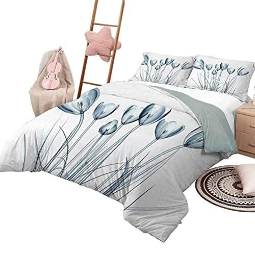 Juego de colchas de 3 piezas Juego de ropa de cama para niños con flores Flores de primavera blancas gemelas en la rama de un árbol Frescura Crecimiento del jardín Naturaleza estacional Tamaño