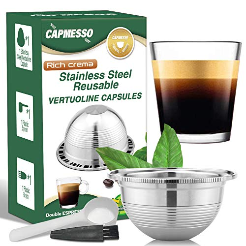 CAPMESSO Coffee Capsule, Stainless Steel Reusable Coffee Pod Compatible with Nespresso Refillable Vertuo Capsule Pod Vertuoline GCA1 and Delonghi ENV135 (2.5OZ-Double Espresso Cup(Small)