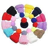 Rolin Roly 50pcs Wolle Hut Ohrringe KIleiner Wollhut Lustiger Winter Wollhut Mini Bobble Hüte Zufällige Farbe (Hut mit Ball)