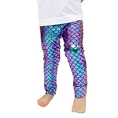 Kids Baby Girls Adult Mermaid Fish Stretch Long Leggings Tight Pants (2-3 Years, A)