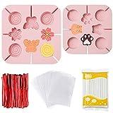 2 moldes de silicona para piruletas, para hacer tú mismo, reutilizables con 100 pegatinas de papel, 100 bolsas para envolver dulces, molde para hornear en forma de flor de cerezo para fondant (rosa)