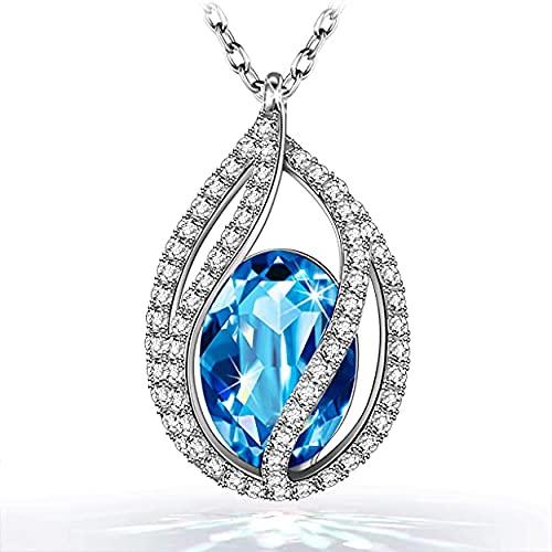FUROO Collar, lágrimas de Sirena, Cristal de Austria, diseño Original, símbolo de Seguridad y Felicidad, Caja de Regalo, 45 + 5 cm
