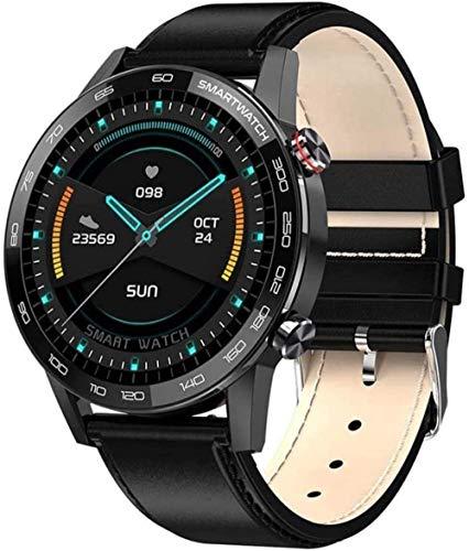Reloj inteligente de 1,3 pulgadas, pantalla a color de alta definición, pulsera inteligente, multifunción, Bluetooth, pulsera deportiva, de acero plateado, negro