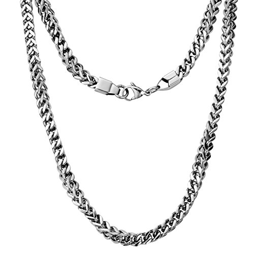 Silvadore - 6mm 3D CHUNKY MECHANICAL Curb Necklace Chain - Men's Silver Stainless Steel Jewellery - 20'' - 65g - 60 Days Money Back Guarantee (+ Silvadore Pouch)