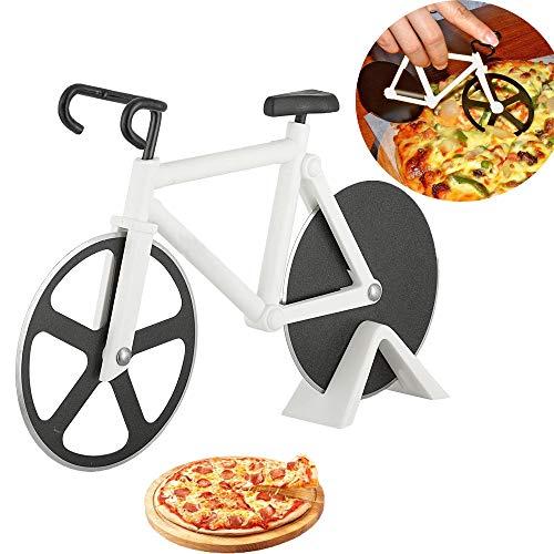 Dream HorseX Tagliapizza Ruota Bicicletta, Tagliapizza a Forma di Bicicletta in Acciaio Inox Lame con Rivestimento Antiaderent con Cavalletto, Doppia Rotella Taglia Affettatrice Pizza