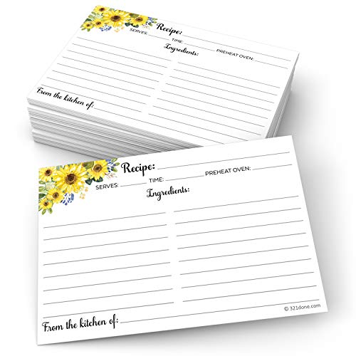 321Done Sunflower Recipe Cards (Set of 50) 4' x 6' Large - From the Kitchen Of - Double-Sided for Weddings, Bridal, Baby Shower - Made in USA