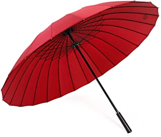 Household Long Handle Umbrella Large Folding Umbrella Business Weather Umbrella Outdoor Umbrella Multi-Color Optional HYBKY (Color : Red)
