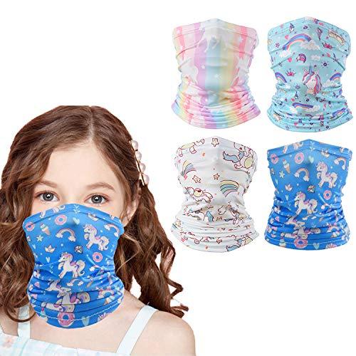 4 PCS Kids Neck Gaiter Unicorn Kids Face Mask Face Scarf Balaclava Bandanas for Boys and Girls Hiking Cycling Skiing