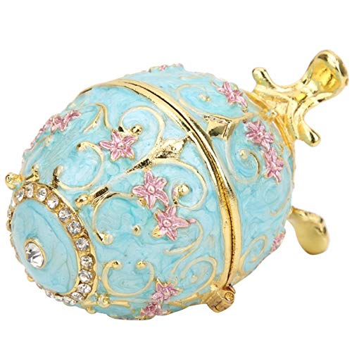 Germerse Egg Trinket Box, Metal Faberge Egg, Enamel Painted Hinged Jewelry Ring Holder Decorative for Gifts Desktop Decor Women Home Ornaments