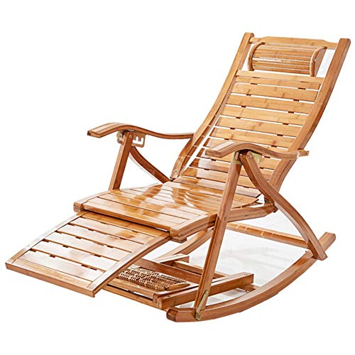 HAIYU- Bamboo Rocking Lounger Folding Reclining Chair Outdoor Sun Lounger Relaxing Recliner with Armrests and Adjustable Back for Garden, Balcony, Terrace
