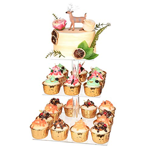 """YestBuy 3 Tier Cupcake Stand, Acrylic Cupcake Tower Stand, Premium Cupcake Holder for 28 Cupcakes, Display for Pastry Wedding Birthday Party (4.7"""" Between 2 Layers)"""