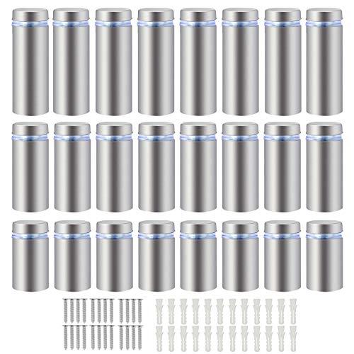 LAITER 24 PCS Distanziatori Pubblicità Vetro con Viti Acciaio Inox per Installazione Pubblicità Porte Tavoli Vetro per Insegne Pannelli Pubblicitari Foto (20mm 30mm 40mm)
