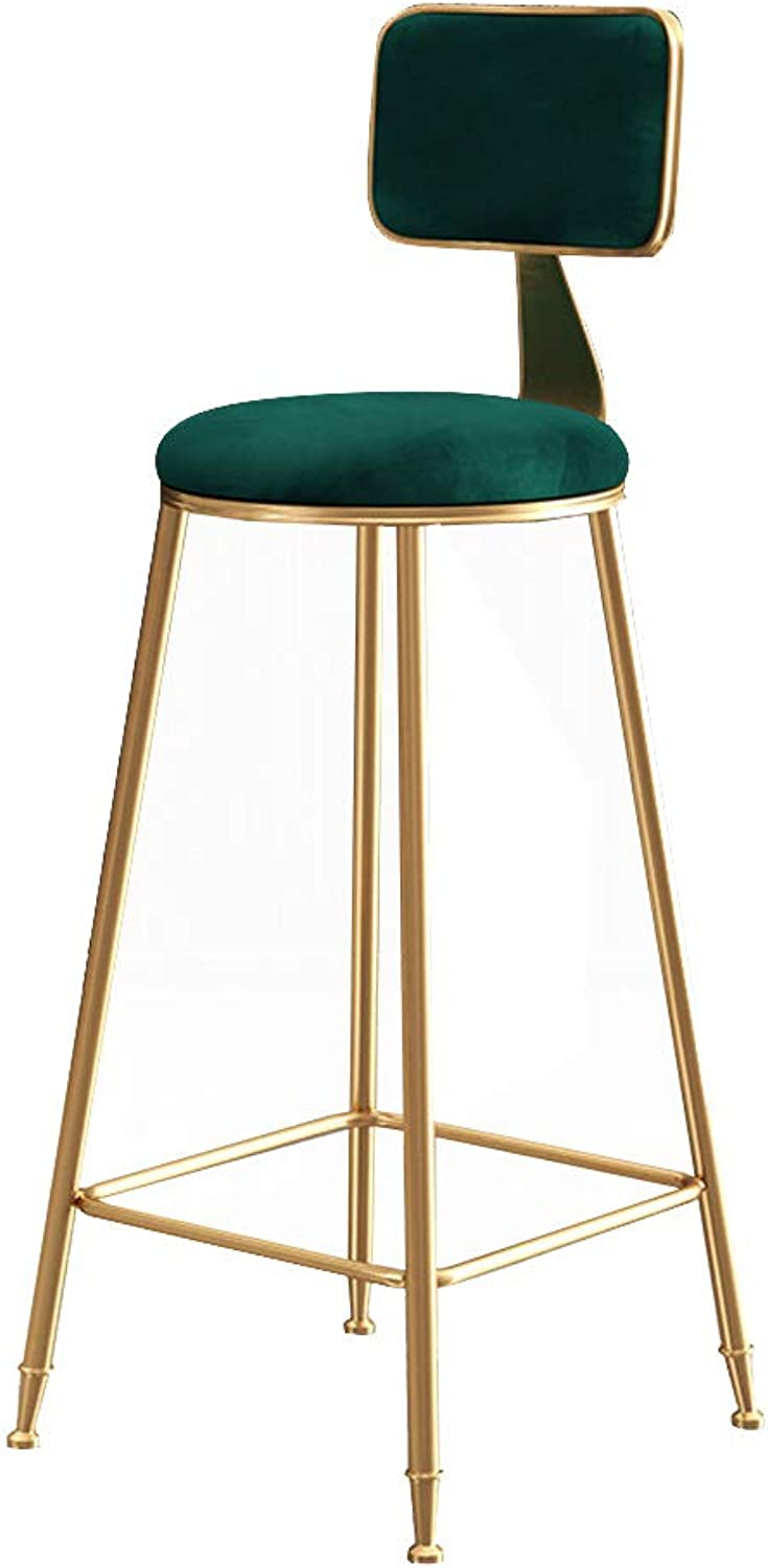 Modern Barstools Footrest Chair for Bar Pub Kitchen Breakfast Bar Stool with Back Counter Height   Side Dining Chair with Metal Leg and Velvet Seat, Green
