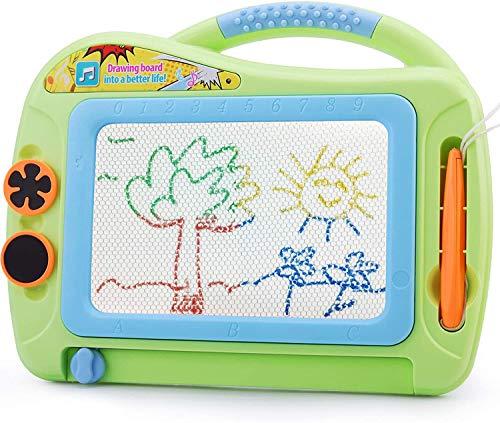 Lavagna Magica per Bambini, Tavola da Disegno Cancellabile Lavagnetta Magica con 2 Timbri e 1 Penna per i Bambini 2 3 4 Anni Regali
