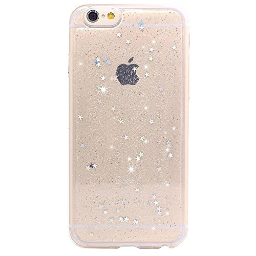 BAISRKE iPhone 6 Case, iPhone 6s Spark Glitter Case Shine Stars Clear Transparent Soft Gel TPU Back Cover for iPhone 6 6S - Clear