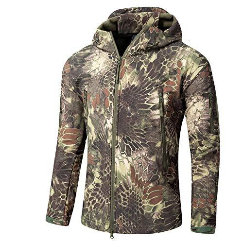llzshoutao Veste Polaire pour Hommes Automne Hiver Veste d'extérieur à Manches Longues Cardigan Laine Polaire Coupe-Vent Soft Shell Chaud Épais Sweat-shirt1@Python VertXS
