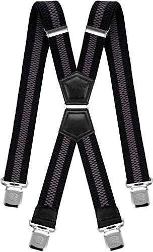 Decalen Tirantes Hombre Elásticos Ancho 40 mm con Clips Extra Fuerte Una Talla Para Todos (Negro Gris 2)