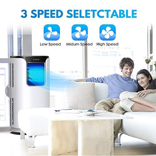Colzer 14,000 BTUS Portable Air Conditioner,Window AC Unit Air Cooler, Dehumidifier with Timer,Sleep Mode and 4 Fan Functions Speeds for Rooms up to 500 Sq .ft,Remote Control & Washable Filter