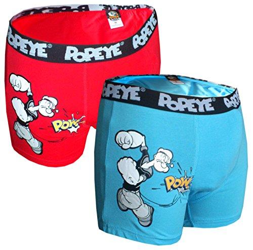 Popeye 2er Pack Boxershorts Rot und Blau Seemann (XL, Blau und Rot)