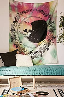 """Red and Green Tie Dyed Withe Skull Face Moon Be Round by Floral Design£,Wall Art Hanging Tapestry Dorm Decor (51"""" H x 60"""" W, Skull Moon)"""