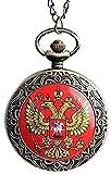 Reloj con Collar de diseño de águila Doble Rusia Reloj de Bolsillo de Cuarzo de Bronce Antiguo con Reloj analógico Fantastic