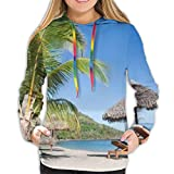 Helen vi Sudadera con Capucha para Mujer Tropical Beach Landscape con Tumbona y sombrilla, Sudadera XXL