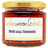pesto alla trapanese in olio extravergine d'oliva - vaso da ml. 212 - ricetta tipica siciliana con mandorle, pomodori secchi, basilico, formaggio pecorino - produzione artigianale conserve conti