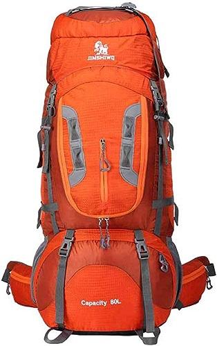 YNNB Grand Sac à Dos de randonnée 80L, imperméable Sports de Plein air Daypack Trekking Sac à Dos Alpinisme Sac pour Hommes Femmes Camping Voyager Trekking,Orange
