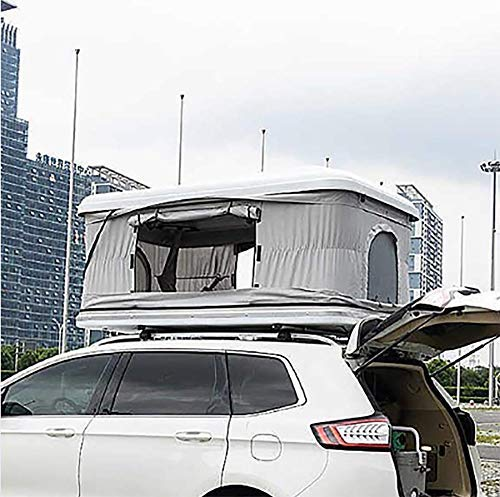 Automotive Rooftop Tent Car Roof Tent 2-3 Adults Waterproof ABS Shell Awnings Camping Gear With Extension Ladder And LED Lights