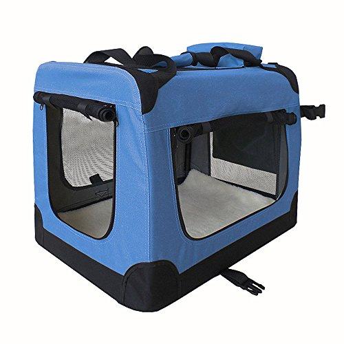 petigi Faltbare Transportbox Hund Faltbox Transporttasche Hundetransportbox Katze Auto 7 Größen 5 Farben, Farbe:Blau;Größe:L (70 x 50 x 50 cm)